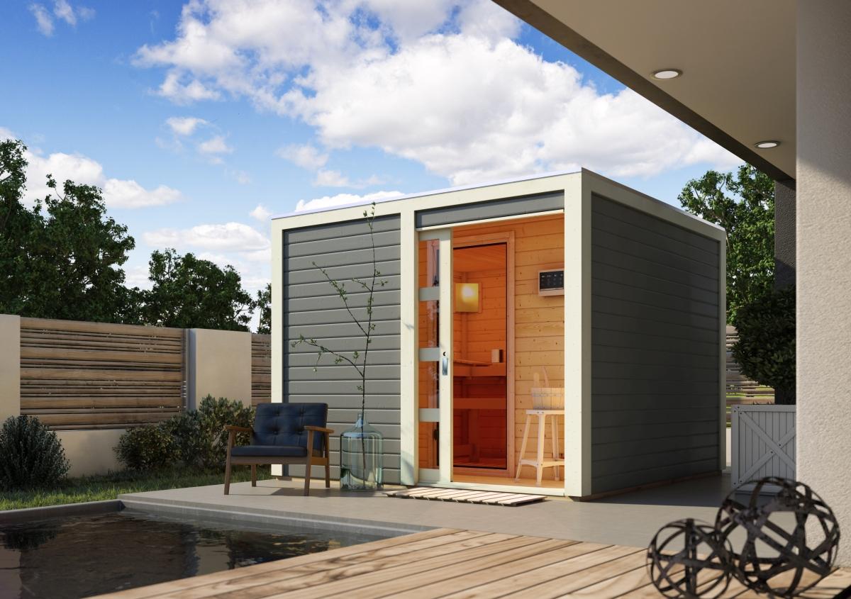 Full Size of Saunahaus Cuben Mit Vorraum Karibu Wohnzimmer Außensauna Wandaufbau