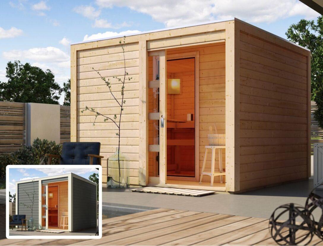 Large Size of Gartensauna Bausatz Karibu Cuben Gratis Zubehrpaket Bis Zu 270 Wohnzimmer Gartensauna Bausatz