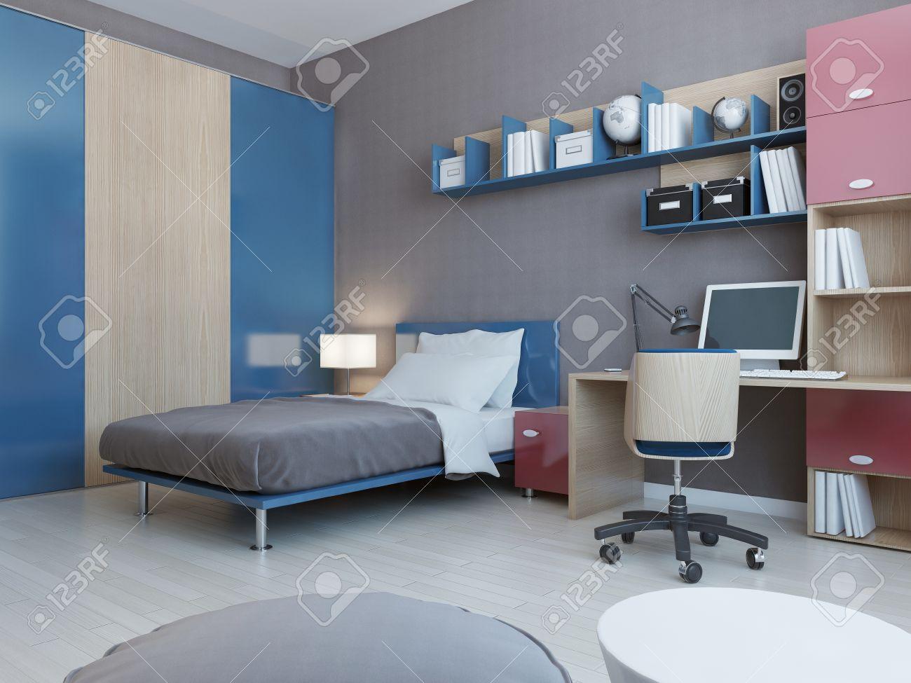 Full Size of Zimmer Teenager Ansicht Von In Roten Und Blauen Farben Hellgrau Fürs Wohnzimmer Wandleuchte Schlafzimmer Board Wandtattoo Vorhänge Joop Weißes Kosten Wohnzimmer Zimmer Teenager
