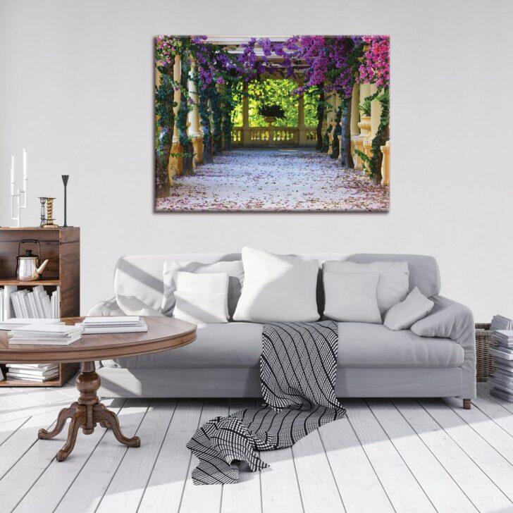 Medium Size of Couch Terrasse Blumen Leinwandbild Kunstdruck Wanddekorationde Wohnzimmer Couch Terrasse