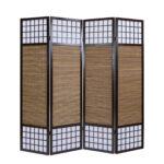 Paravent Bambus Balkon Raumteiler 4fach Trennwand Spanische Wand Bett Garten Wohnzimmer Paravent Bambus Balkon