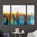 Bilder 3 Teilig Abstrakt Glasbilder Küche Bad Wohnzimmer Glasbild 120x50