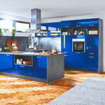 Küche Blau Grau Blaue Kche Gnstig Kaufen Kompetente Kchenplanung Kchenbrse Theke Holz Modern Gardinen Für Die Pendelleuchte Wandregal Landhaus Wohnzimmer Küche Blau Grau