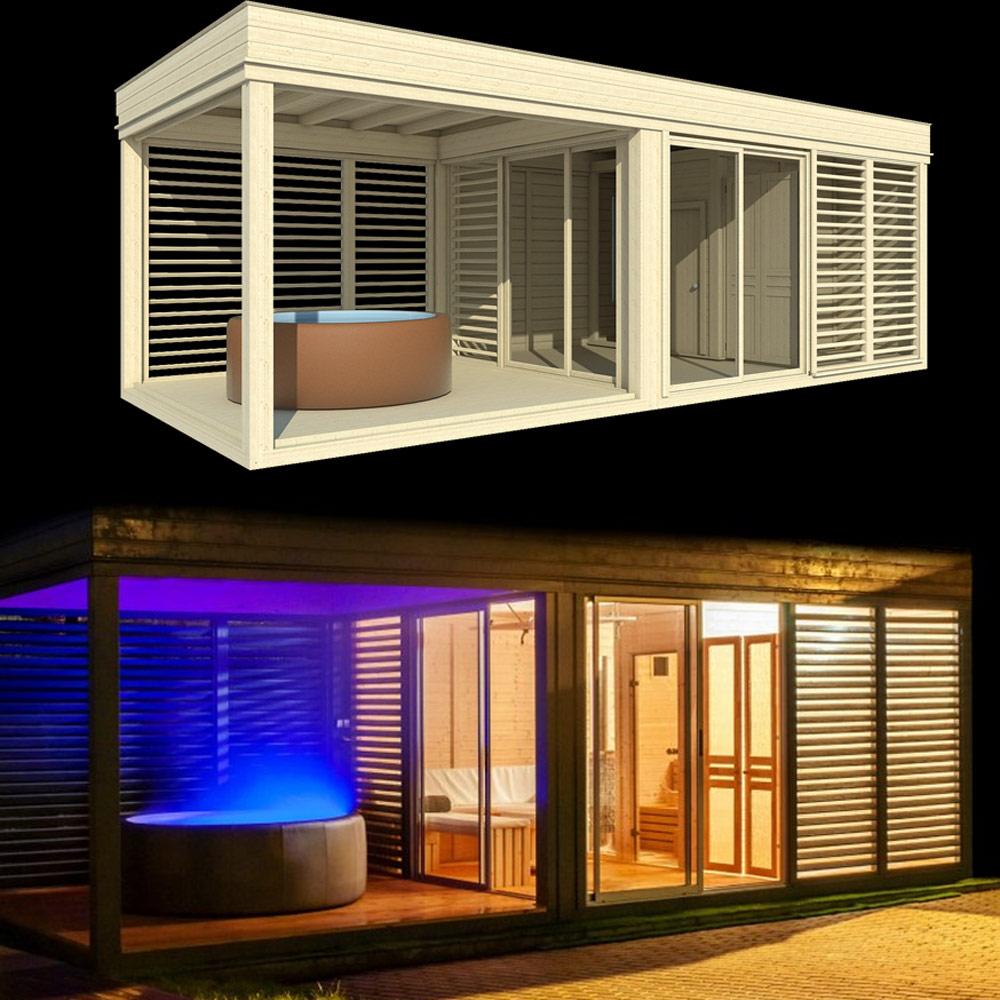Full Size of Gartensauna Bausatz Sauna Whirlpoolhaus Piazza 5 Xl Optirelax Wohnzimmer Gartensauna Bausatz