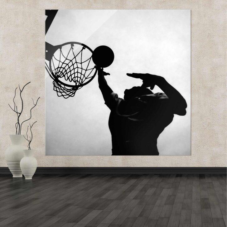 Medium Size of Glasbild 120x50 Basketball Schwarz Wei Glasbilder Küche Bad Wohnzimmer Glasbild 120x50
