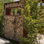 Holzlege Cortenstahl Ligna Sichtschutzwnde Mit Kaminholz Wohnzimmer Holzlege Cortenstahl