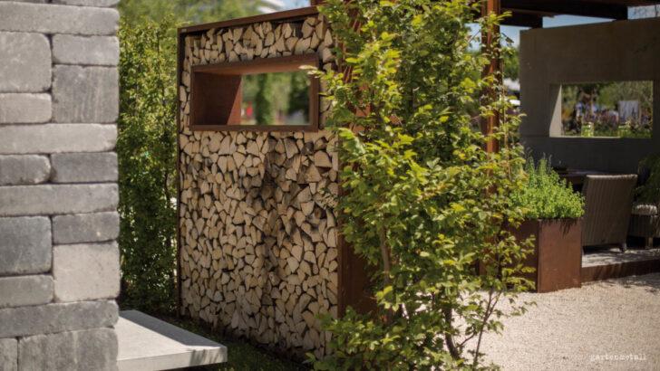Medium Size of Holzlege Cortenstahl Ligna Sichtschutzwnde Mit Kaminholz Wohnzimmer Holzlege Cortenstahl