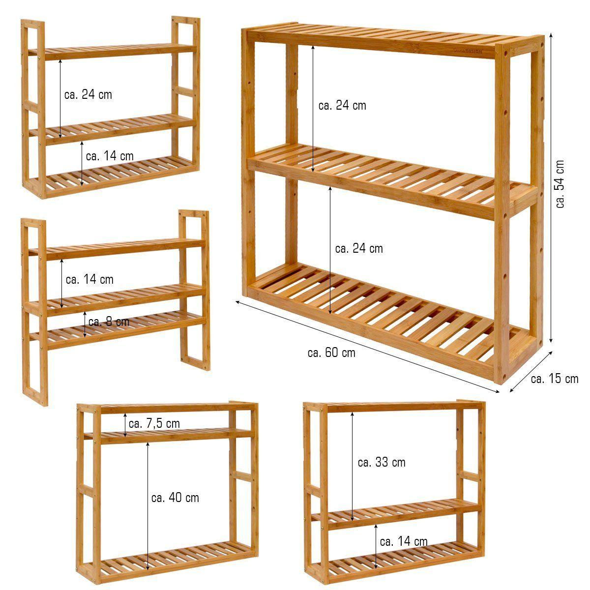 Full Size of Küche Hängeregal Dunedesign Wandregal 54x60x15cm Bambus Bad Regal 3 Fcher Holz Erweitern Holzbrett Wasserhahn Wandanschluss Billige Pendeltür Wohnzimmer Küche Hängeregal