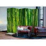 Paravent Bambus Wohnzimmer Bambus Wald Motiv Paravent In Grn Holzrahmen Mit Leinwand 225x172 Garten Bett