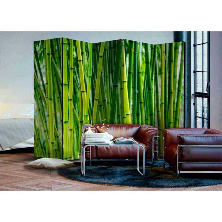 Medium Size of Bambus Wald Motiv Paravent In Grn Holzrahmen Mit Leinwand 225x172 Garten Bett Wohnzimmer Paravent Bambus