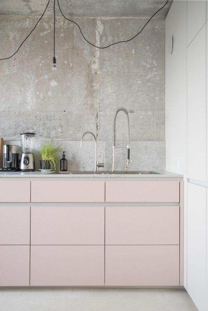 Medium Size of Rosa Küche Modern Pink And Grey Kitchen With Concrete Wall Kchen Fliesenspiegel Selber Machen Nobilia Tapeten Für Die Planen Deckenleuchte Polsterbank Wohnzimmer Rosa Küche