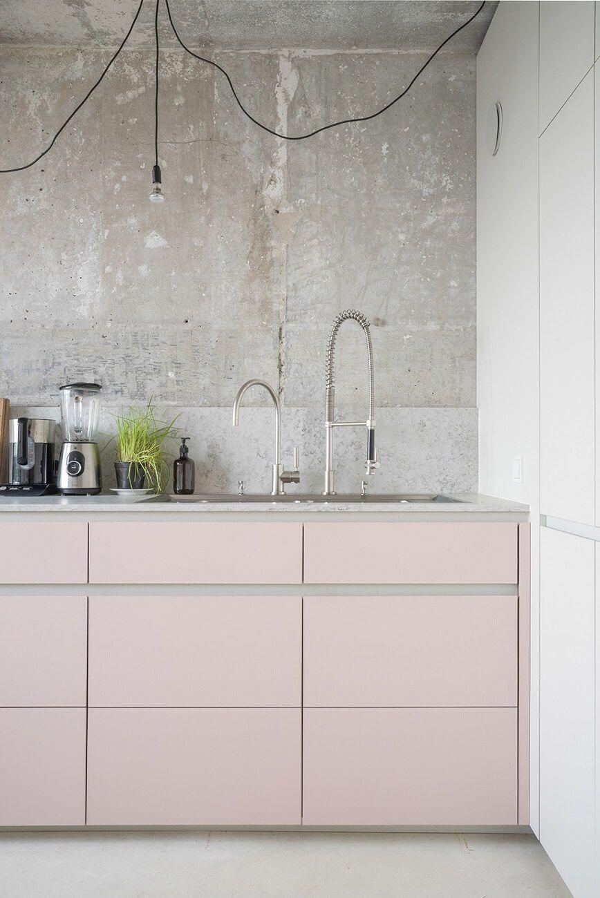 Full Size of Rosa Küche Modern Pink And Grey Kitchen With Concrete Wall Kchen Fliesenspiegel Selber Machen Nobilia Tapeten Für Die Planen Deckenleuchte Polsterbank Wohnzimmer Rosa Küche