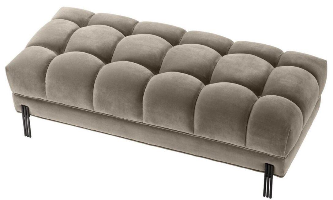 Large Size of Gepolsterte Sitzbank Casa Padrino Luxus Greige Schwarz 133 59 H 42 Cm Küche Mit Lehne Garten Bad Schlafzimmer Bett Gepolstertem Kopfteil Wohnzimmer Gepolsterte Sitzbank