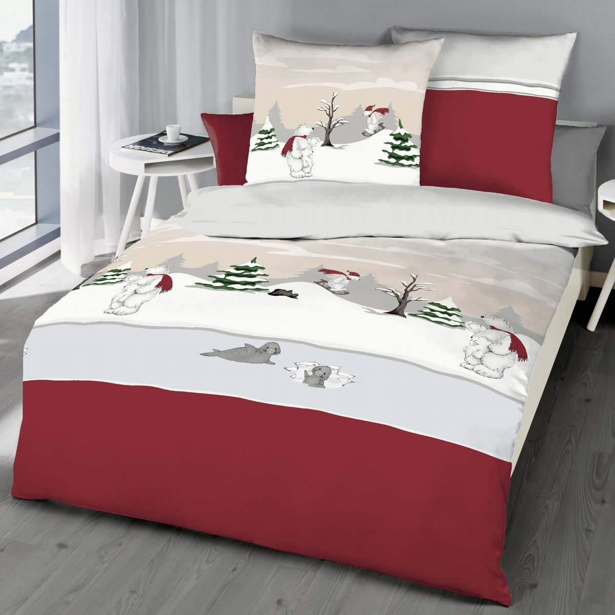 Full Size of Kaeppel Biber Bettwsche 155x220 Cm Design 6252 Eisbr Rot Winter Bettwäsche Sprüche Wohnzimmer Bettwäsche 155x220