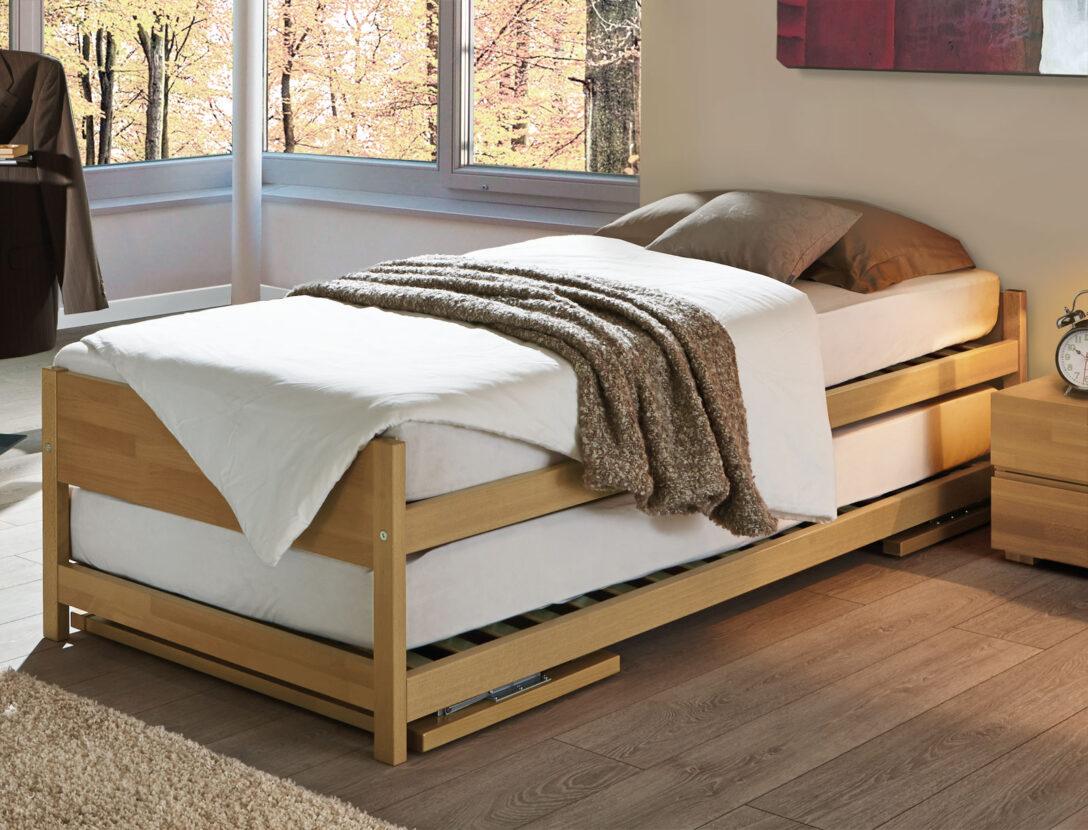 Large Size of Bett Ausziehbar Gleiche Ebene Ikea Zwei Betten Gleicher Gre Unser Ausziehbett On Top 90x200 Mit Lattenrost Und Matratze Luxus 100x200 Metall Barock Schubladen Wohnzimmer Bett Ausziehbar Gleiche Ebene