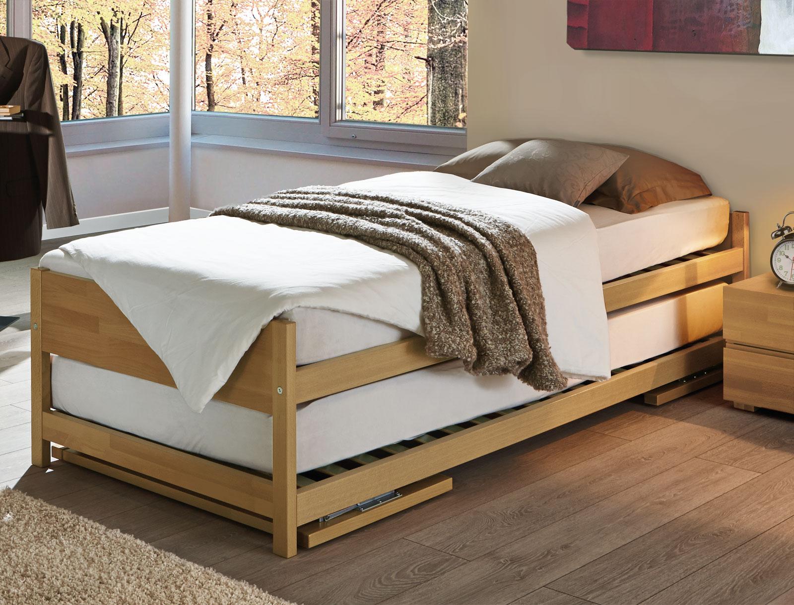 Full Size of Bett Ausziehbar Gleiche Ebene Ikea Zwei Betten Gleicher Gre Unser Ausziehbett On Top 90x200 Mit Lattenrost Und Matratze Luxus 100x200 Metall Barock Schubladen Wohnzimmer Bett Ausziehbar Gleiche Ebene