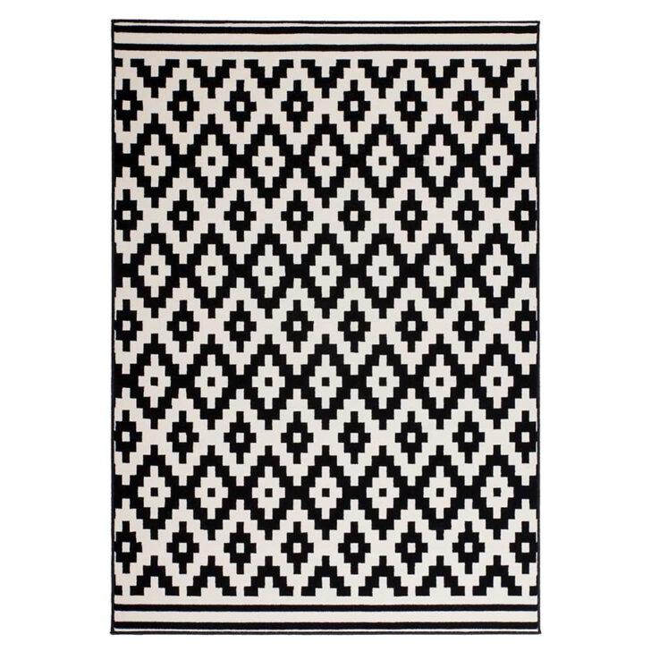 Medium Size of Teppich Schwarz Weiß Kurzflor Rosala Geometrisch Gemustert In Wei Bad Kommode Hochglanz Bett 90x200 180x200 Schlafzimmer Regal Metall Mit Schubladen Komplett Wohnzimmer Teppich Schwarz Weiß