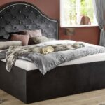 Klappbares Doppelbett Eliza Schwarz Samt 180x200 Cm Stauraumbett Ausklappbares Bett Wohnzimmer Klappbares Doppelbett