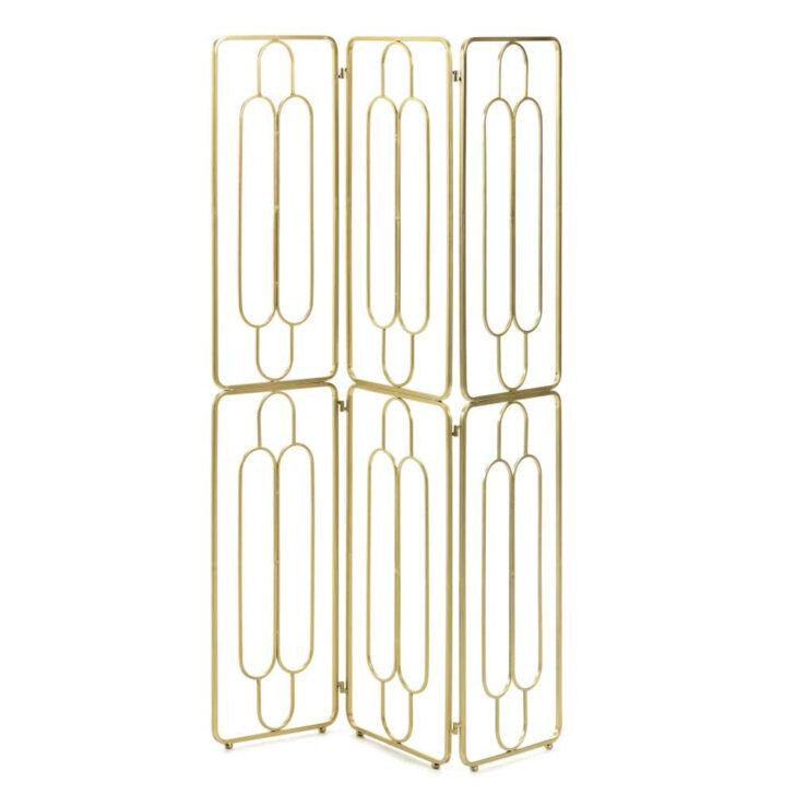 Medium Size of Modern Art Deco Paravent In Gold Aus Stahl 123x182x2 Cm Atlanta Regale Metall Regal Bett Outdoor Küche Kaufen Edelstahl Garten Weiß Wohnzimmer Paravent Outdoor Metall
