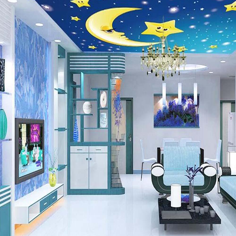 Full Size of Tapete Foto Wandbild Sterne Mond Fr Für Wohnzimmer Indirekte Beleuchtung Hängeschrank Weiß Hochglanz Hängeleuchte Stehleuchte Lampe Im Bad Schlafzimmer Wohnzimmer Wohnzimmer Decke
