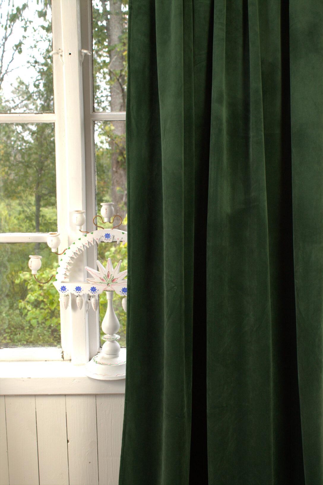 Large Size of Vorhang Gabriella Samt Tannen Grn 140x280 Cm 2 Stck Blickdicht Scheibengardinen Küche Wohnzimmer Scheibengardinen Blickdicht