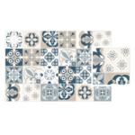 Vinyl Teppich Matteo Mosaic Blau Beige Mosaik Vinylboden Wohnzimmer Küche Badezimmer Fürs Bad Teppiche Für Steinteppich Im Verlegen Schlafzimmer Esstisch Wohnzimmer Vinyl Teppich