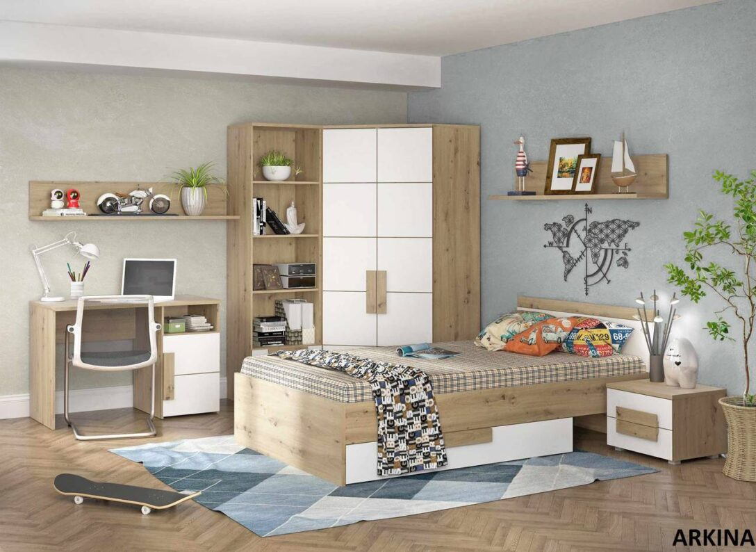 Large Size of Kinderzimmer Eckschrank Jugendzimmer Arkina In Artisan Eiche Wei Von Forte Küche Sofa Regal Weiß Bad Schlafzimmer Regale Wohnzimmer Kinderzimmer Eckschrank