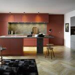 Wohnkche Mit Freistehender Kochinsel In Lack Terracottarot Und Freistehende Küche Küchen Regal Wohnzimmer Freistehende Küchen