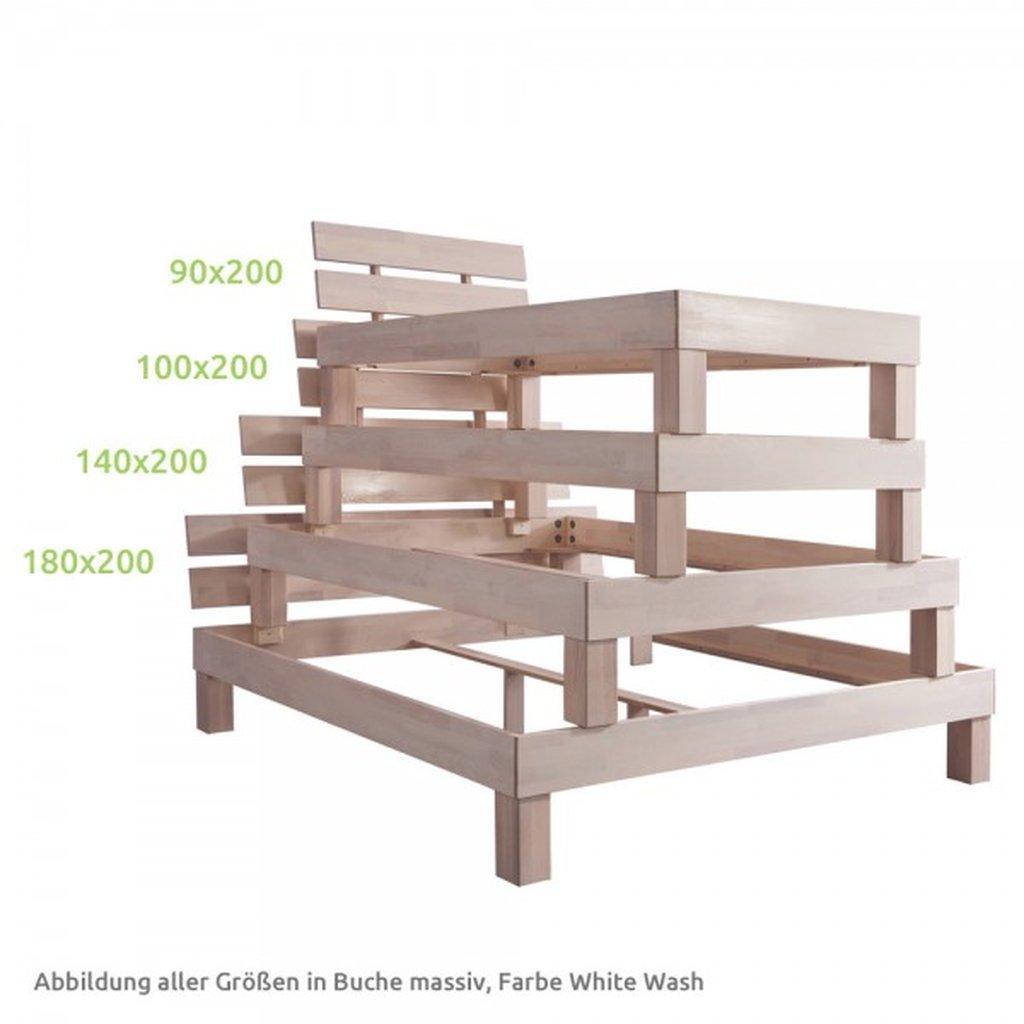 Full Size of Futonbett 100x200 Bett Julia 100 200cm Eiche Massiv White Wash Betten Weiß Wohnzimmer Futonbett 100x200