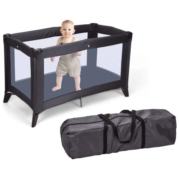 Homeampstyling Klappbares Babybett Mit Matratze Dunkelgrau Bett 180x200 Schwarz Weiß Schwarzes Schwarze Küche Wohnzimmer Babybett Schwarz