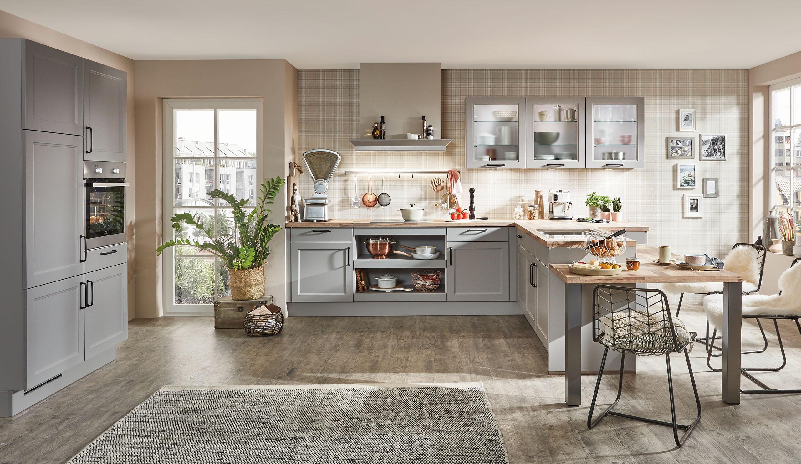 Full Size of Küchen Quelle Landhaus Einbaukche Norina 7684 Steingrau Kchenquelle Regal Wohnzimmer Küchen Quelle