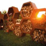 Edelrost Kaminholzregal Oder Holzlege In 6 Eckiger Ausfhrung Wohnzimmer Holzlege Cortenstahl