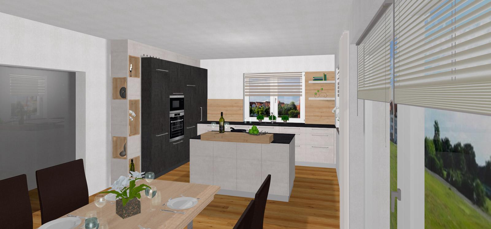 Full Size of Freistehende Küchen L Kche Mit Freistehender Insel In Ried Der Riedmark Küche Regal Wohnzimmer Freistehende Küchen