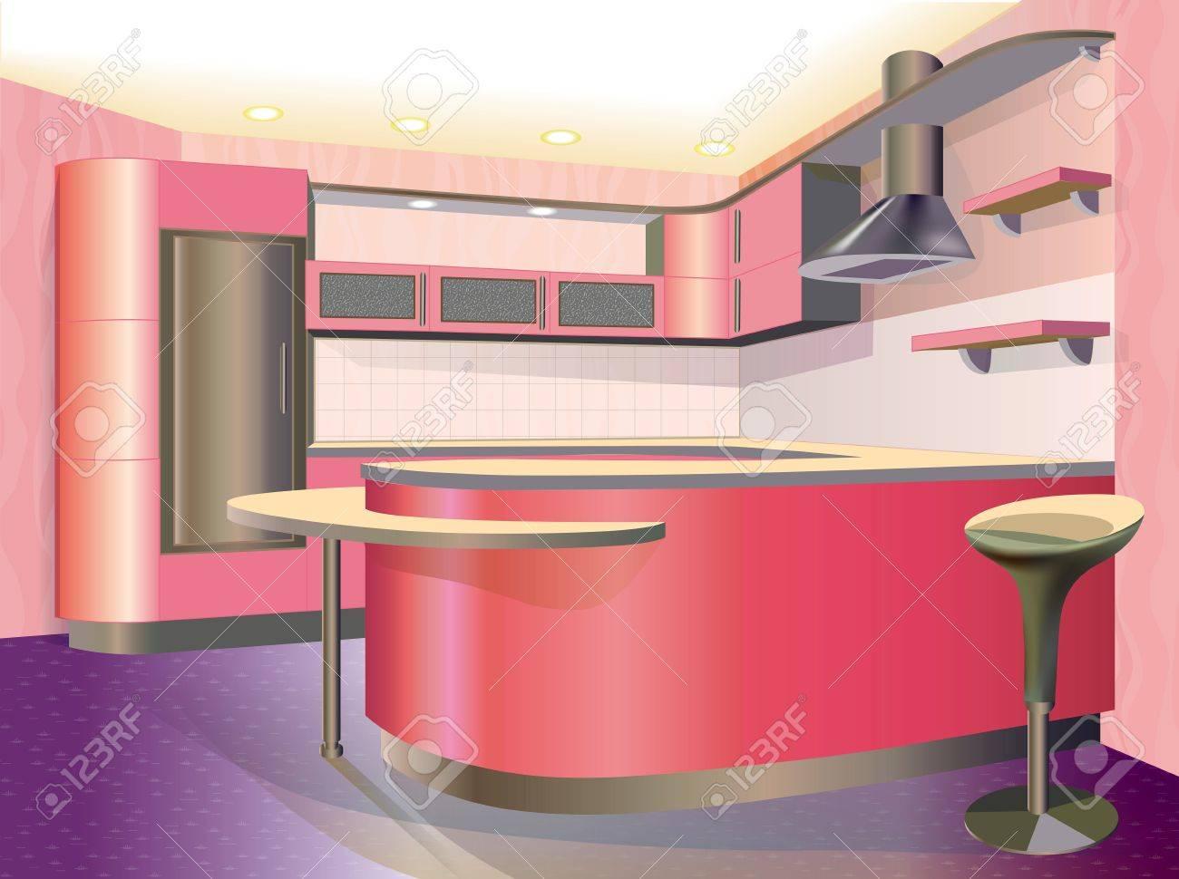 Full Size of Rosa Küche Kche Interieur Illustration Lizenzfrei Nutzbare Kräutertopf Günstig Mit Elektrogeräten Hängeschrank Glastüren Vinyl Fliesenspiegel Gebrauchte Wohnzimmer Rosa Küche