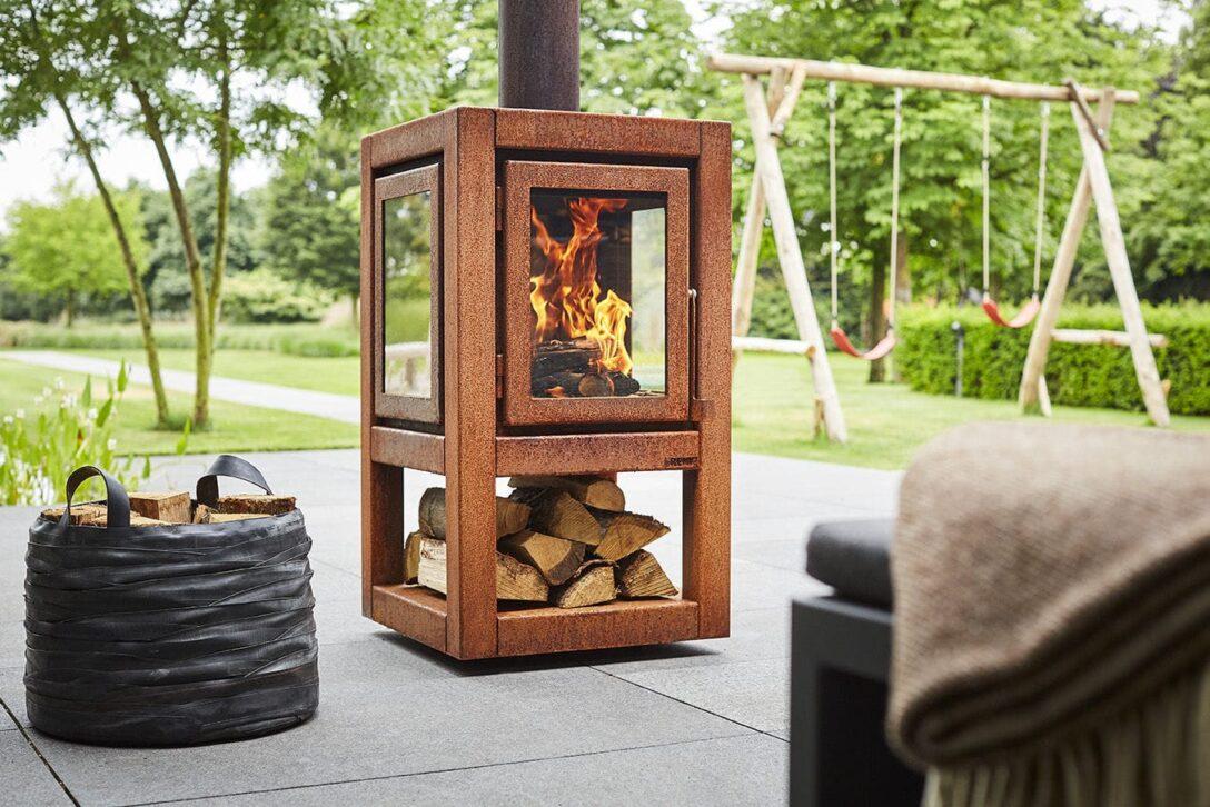 Large Size of Holz Kaminofen Quaruba Xl Rb73 Zentral Cortenstahl Glas Wohnzimmer Holzlege Cortenstahl