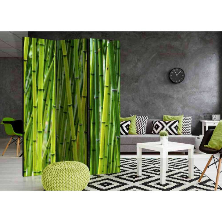 Paravent Raumteiler Vutonia Mit Bambus Motiv In Grn Pharao24de Bett Garten Wohnzimmer Paravent Bambus