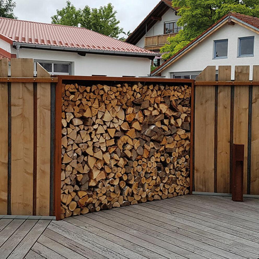 Full Size of Holzlege Cortenstahl Kaminholzregale Aus Metall Wohnzimmer Holzlege Cortenstahl