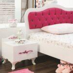 Mdchenbett Pia 100x200 Cm Und Nachtkonsole In Weiss Pink 21204 06 Wohnzimmer Mädchenbetten