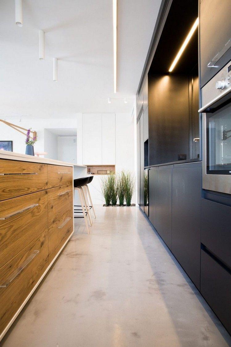Full Size of Küche Betonoptik Holzboden Moderne Offene Kche Im Wohnzimmer Ein In Israel Glaswand L Mit Elektrogeräten Amerikanische Kaufen Hängeschränke Barhocker Deko Wohnzimmer Küche Betonoptik Holzboden