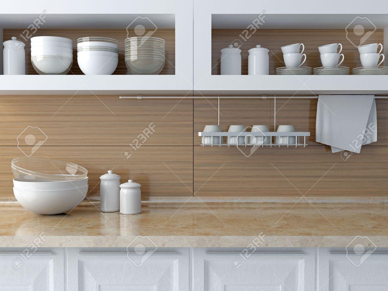 Full Size of Regal Küche Arbeitsplatte Kche Weie Keramik Geschirr Auf Marmor Sprüche Für Die 25 Cm Tief Regale Keller Landhaus Vorratsdosen Modulküche Holz Wohnzimmer Regal Küche Arbeitsplatte