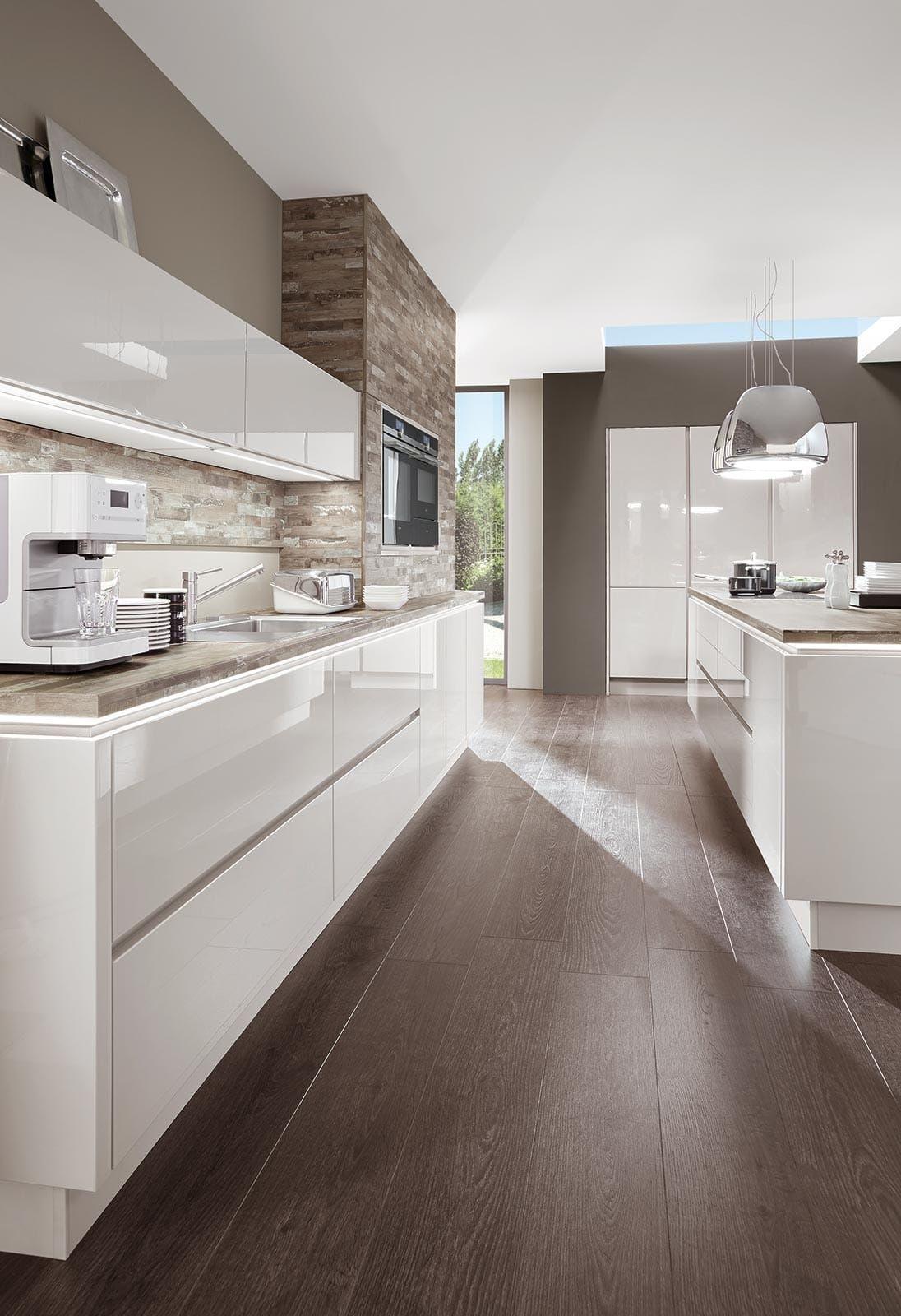 Full Size of Kchenzeile Kche Hochglanz Wei Norina 9555 Küchen Regal Wohnzimmer Küchen Quelle