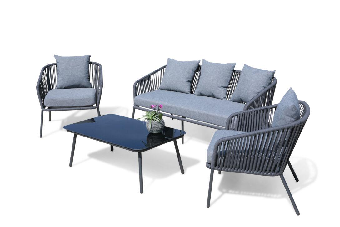 Large Size of Loungemöbel Aluminium Lounge Sitzgruppe 4 Teilig Mit Dicken Kissen Garten Holz Günstig Verbundplatte Küche Fenster Wohnzimmer Loungemöbel Aluminium