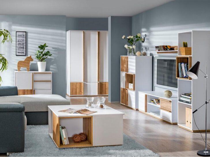 Medium Size of Wohnwand Wohnzimmer Set E 01 Evado Wei Nussbaum Teppich Deckenlampen Deckenleuchten Indirekte Beleuchtung Vorhänge Hängeschrank Liege Deckenleuchte Wohnzimmer Wohnwand Wohnzimmer