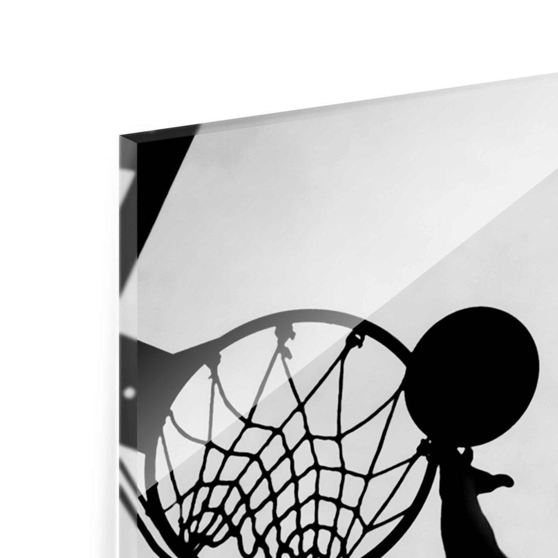 Large Size of Glasbild 120x50 Basketball Schwarz Wei Glasbilder Küche Bad Wohnzimmer Glasbild 120x50
