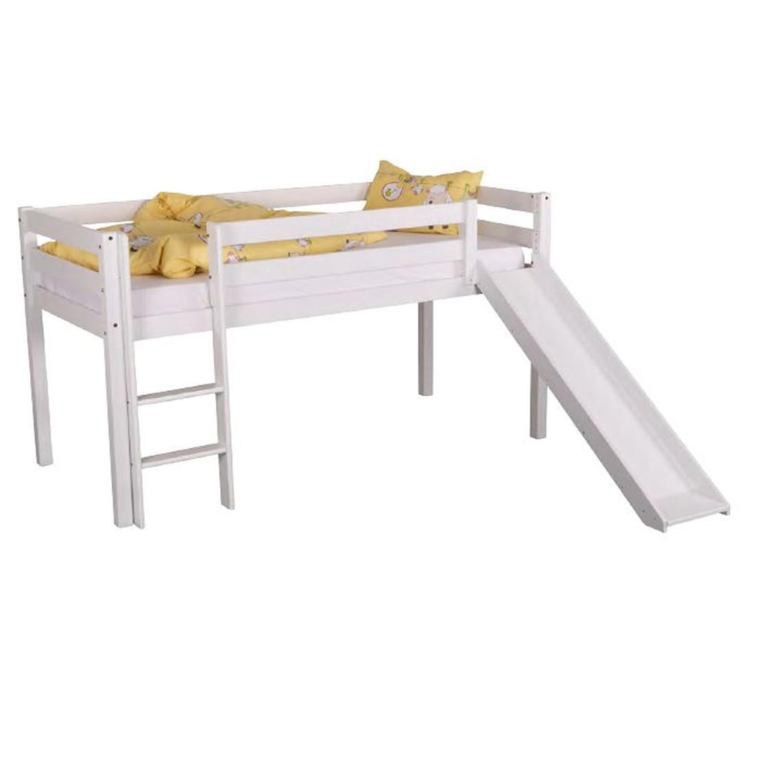 Full Size of Halbhohes Massivholzbett Hochbett Kinderbett Toni Mit Rutsche Bett Wohnzimmer Halbhohes Hochbett