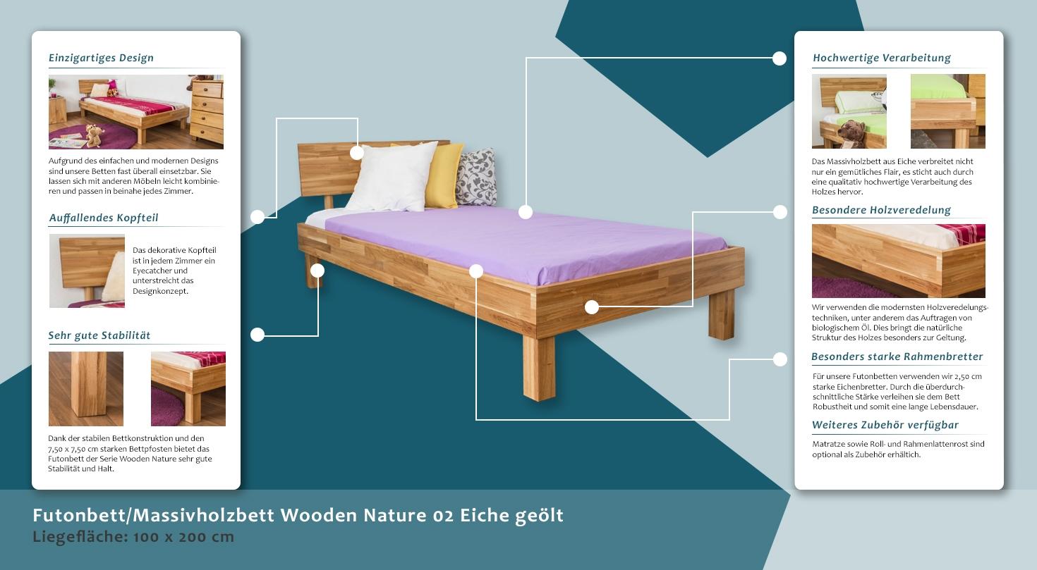 Full Size of Futonbett 100x200 Massivholzbett Wooden Nature 02 Eiche Gelt Bett Weiß Betten Wohnzimmer Futonbett 100x200