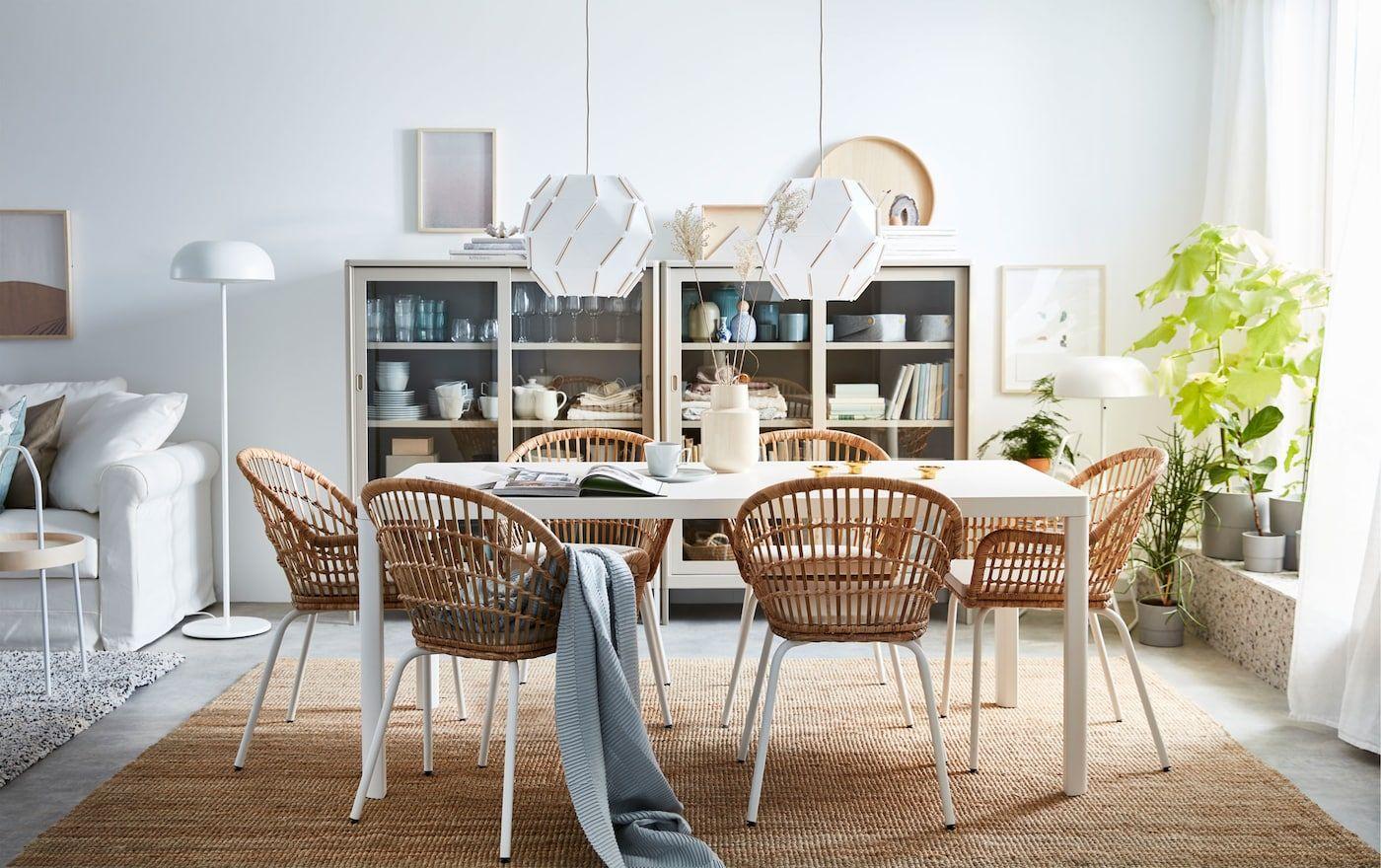 Full Size of Stilvoller Essbereich Mit Rattansthlen Ikea Wohnzimmer Modulküche Betten 160x200 Sofa Schlaffunktion Miniküche Küche Kosten Bei Kaufen Wohnzimmer Hängelampen Ikea