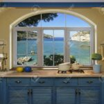 Küche Blau Innen Kche Vorbereiten Mittagessens Zu Hause Auf Mintgrün Landhausküche Schnittschutzhandschuhe Unterschrank Einbauküche Gebraucht Holz Wohnzimmer Küche Blau
