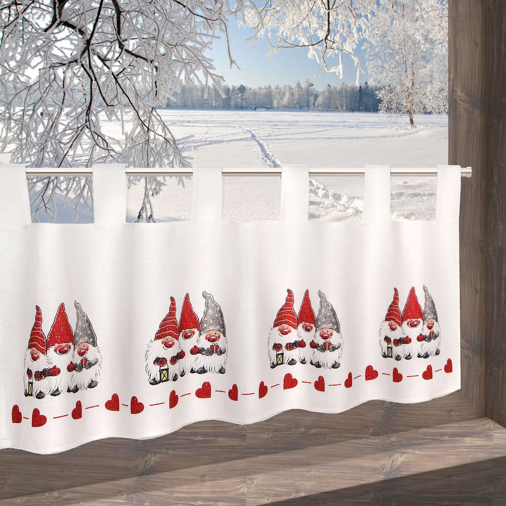 Full Size of Scheibengardine Weihnachten 45x120 Cm Blickdicht 3 Wichtel Ts24 Scheibengardinen Küche Wohnzimmer Scheibengardinen Blickdicht