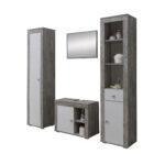 Ausgefallene Möbelgriffe Wohnzimmer Badmbel Set Rgen 4 Teilig 145 Cm Breit Wei Betongrau Ausgefallene Betten Möbelgriffe Küche